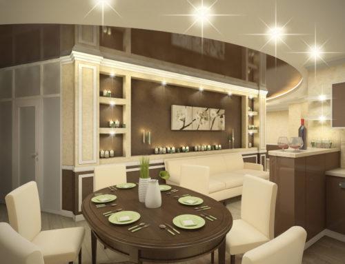 Дизайн интерьера кухни-гостиной в городе Белгороде