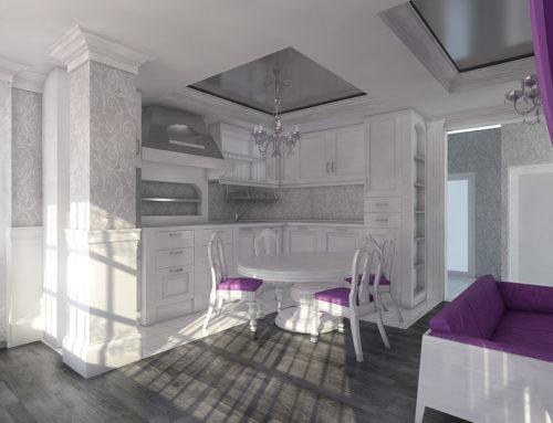Интерьер кухни-гостиной в классическом стиле в г. Белгороде